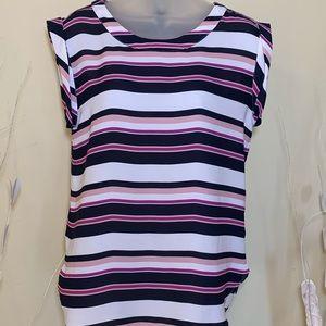 🌸Ann Taylor pink purple dark blue blouse size Sm